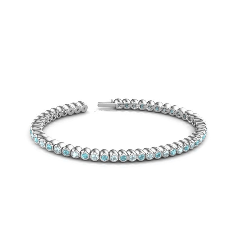 Tennisarmband Patrica 585 witgoud blauw topaas 2.4 mm