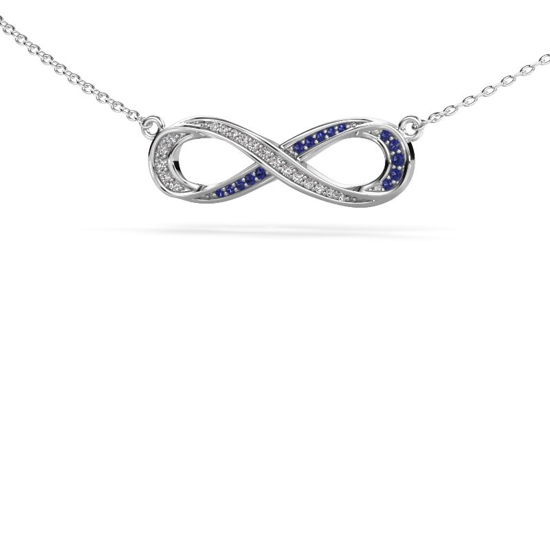 Collier Infinity 2 585 witgoud saffier 0.8 mm
