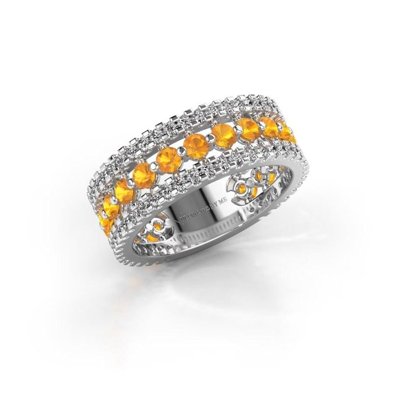 Engagement ring Elizbeth 2 585 white gold citrin 2.4 mm