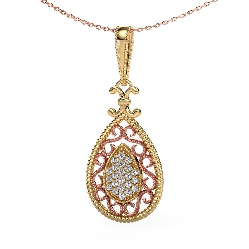 Pendentif Tammie 585 or jaune diamant synthétique 0.27 crt