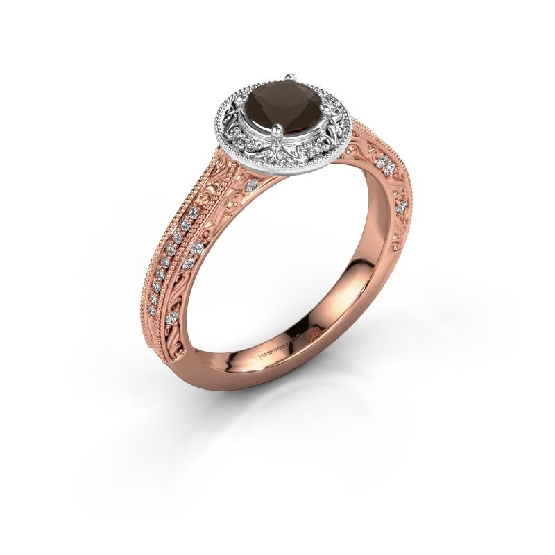 Verlovings ring Alice RND 585 rosé goud rookkwarts 5 mm