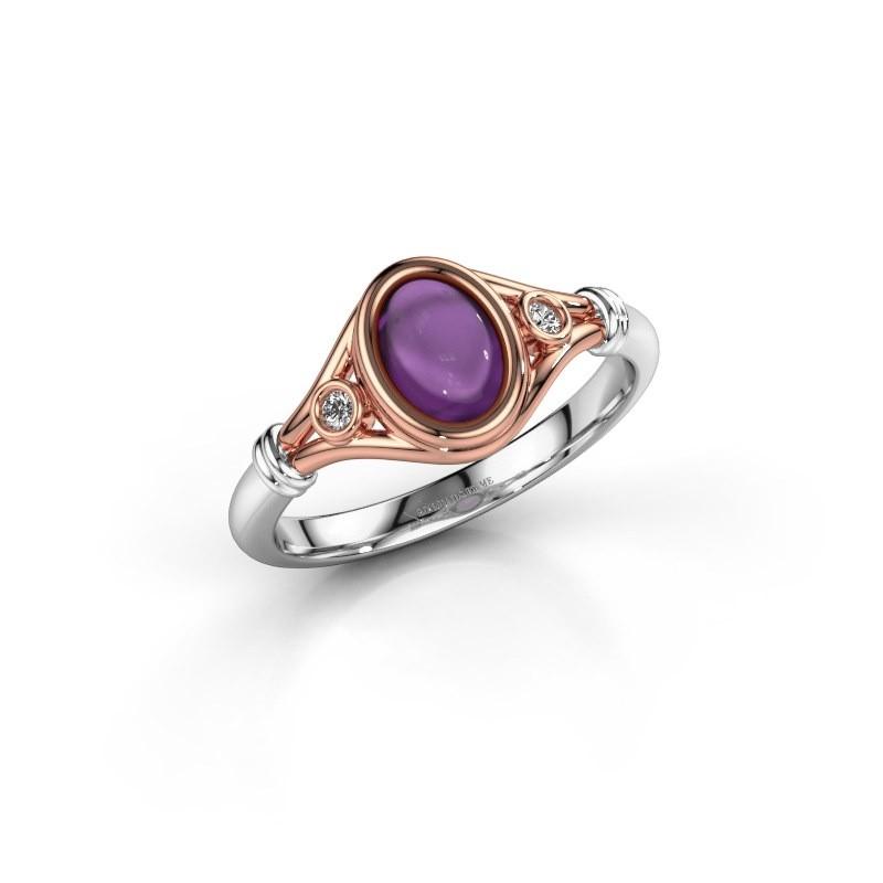 Ring Scarlett 585 rosé goud amethist 7x5 mm