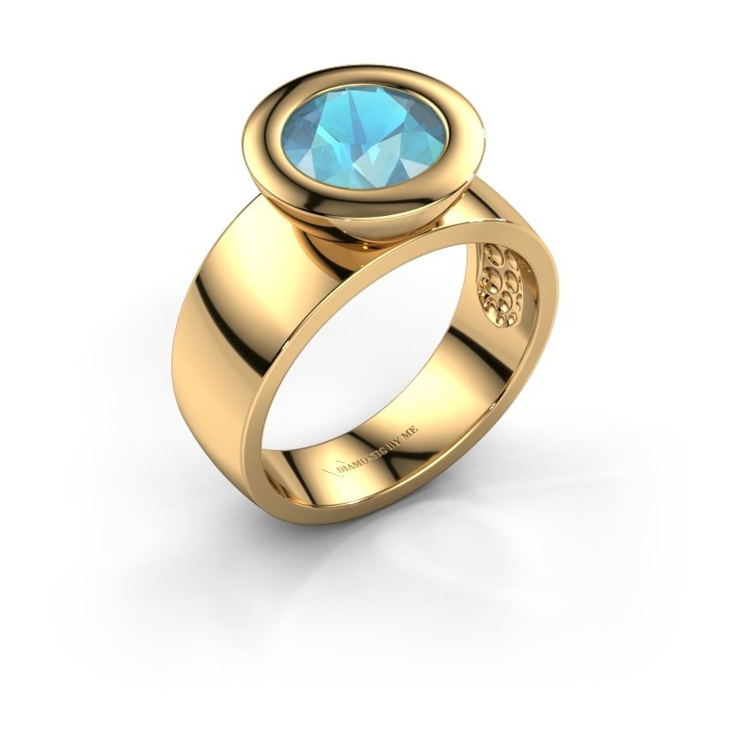 Ring Maxime 585 goud blauw topaas 8 mm