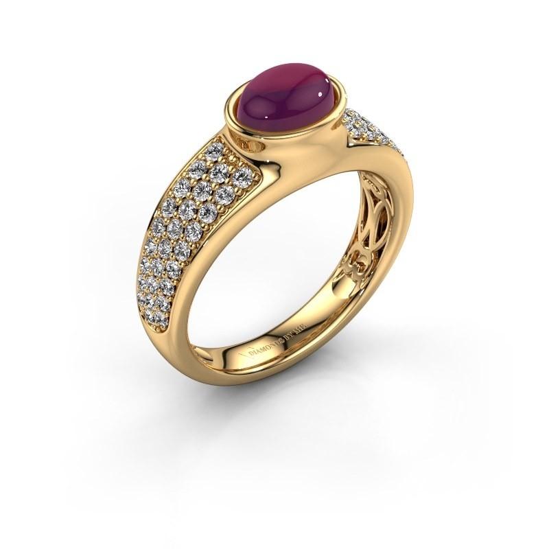 Ring Tatyana 585 goud rhodoliet 7x5 mm