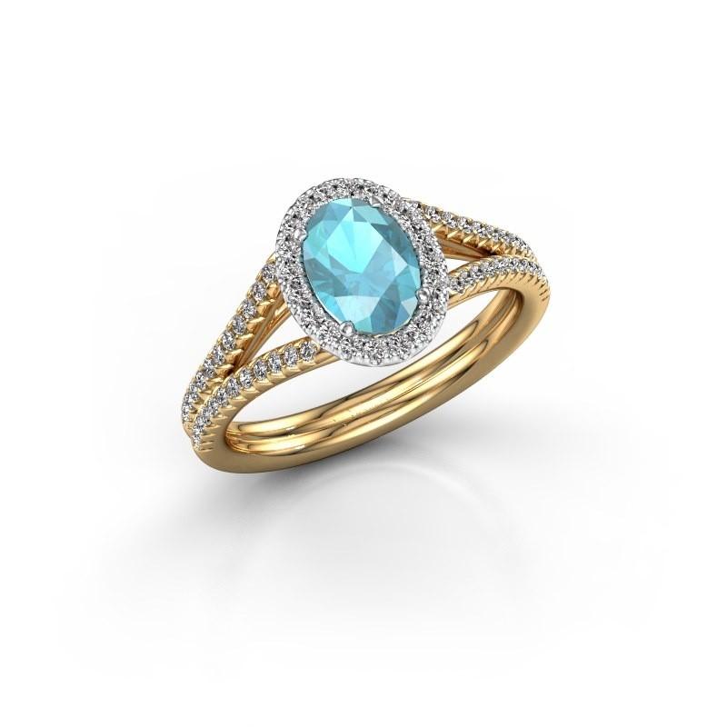 Verlovingsring Rachele 2 585 goud blauw topaas 7x5 mm