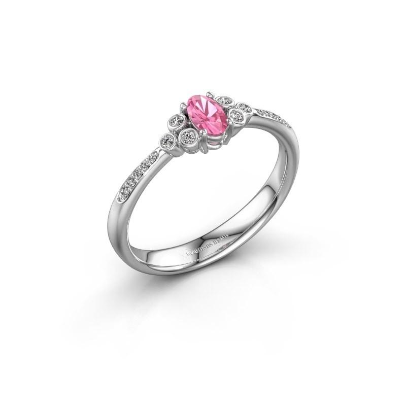 Verlobungsring Lucy 2 585 Weißgold Pink Saphir 7x5 mm