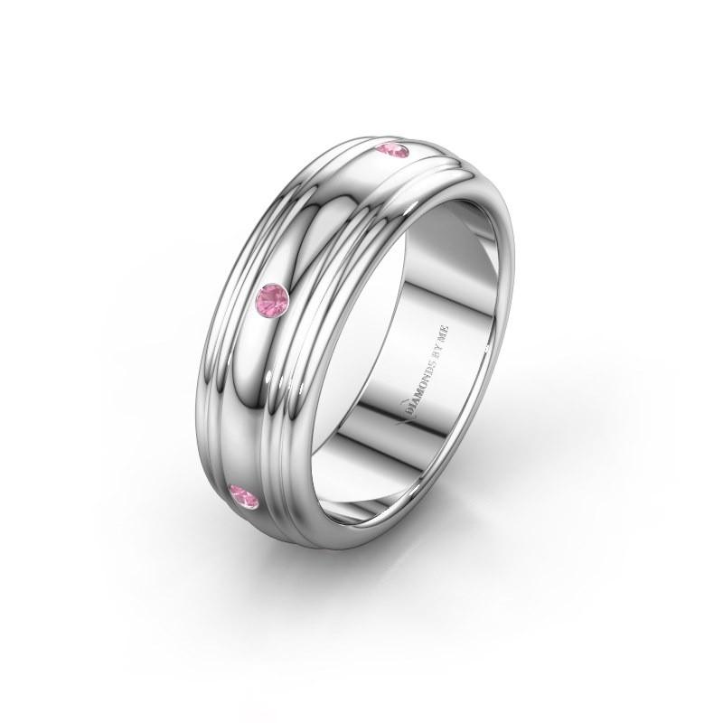 Trouwring WH2236L 925 zilver roze saffier ±6x2.2 mm