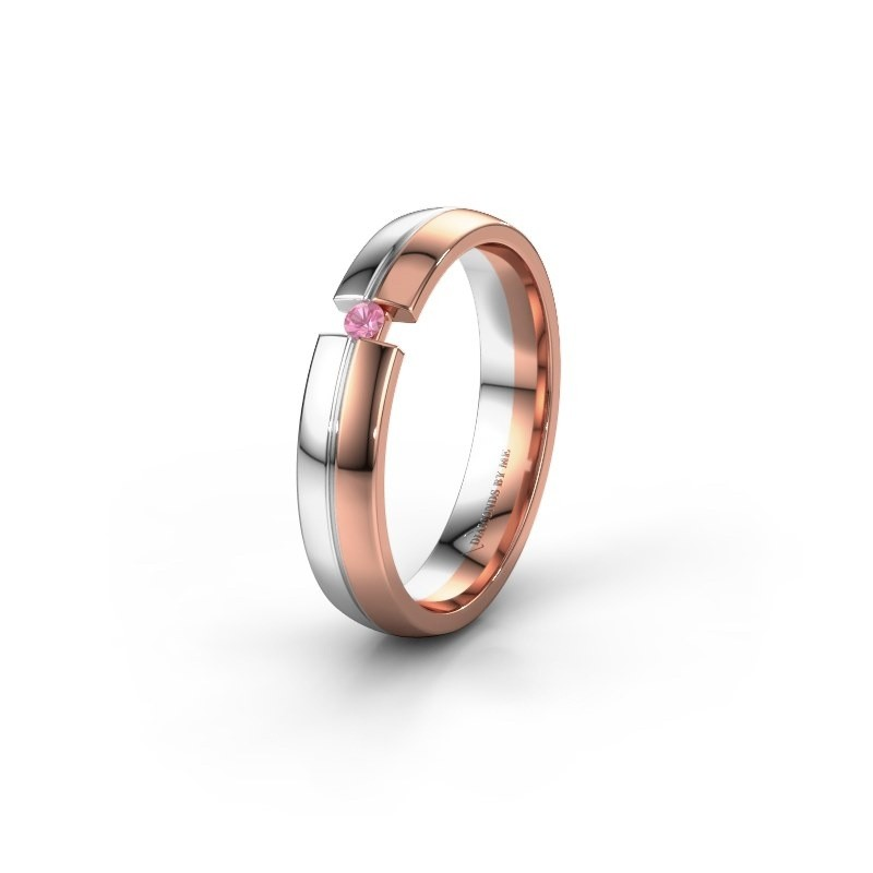 Trouwring WH0254L24X 585 rosé goud roze saffier ±4x1.5 mm