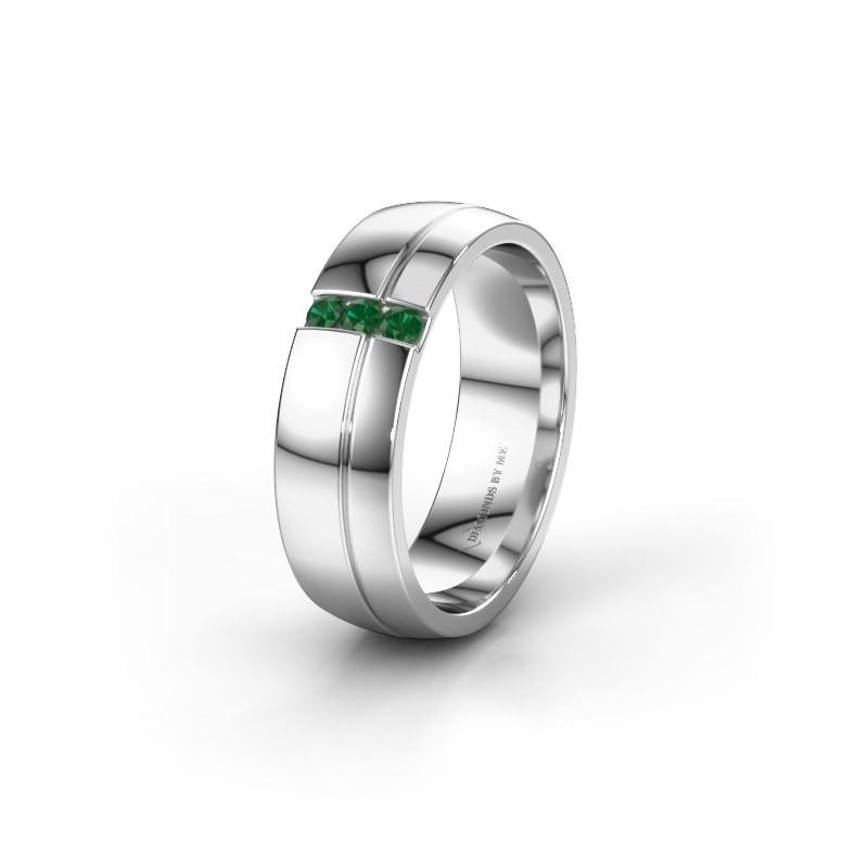 Trouwring WH0223L56A 925 zilver smaragd ±6x1.7 mm