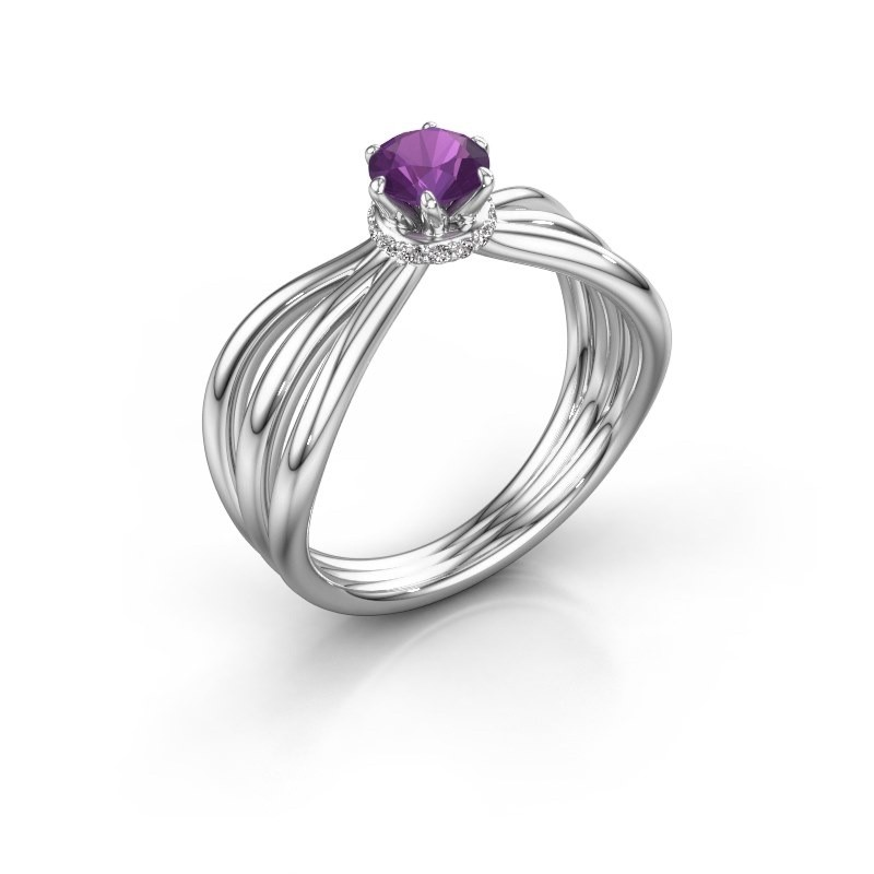 Engagement ring Kimi 925 silver amethyst 5 mm