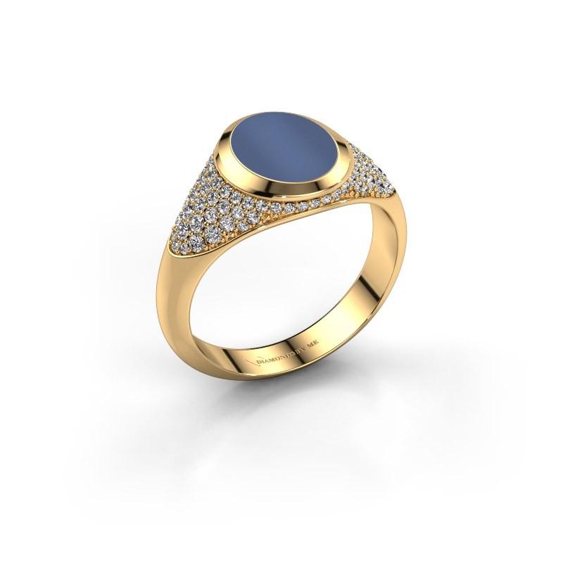 Zegelring Susana 585 goud blauw lagensteen 10x8 mm