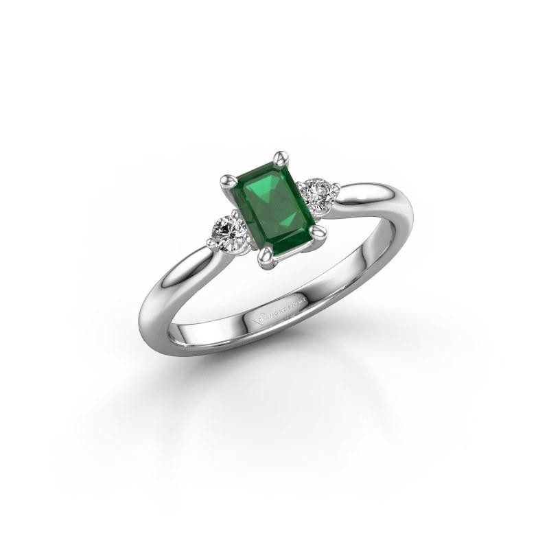 Verlovingsring Lieselot EME 950 platina smaragd 6x4 mm