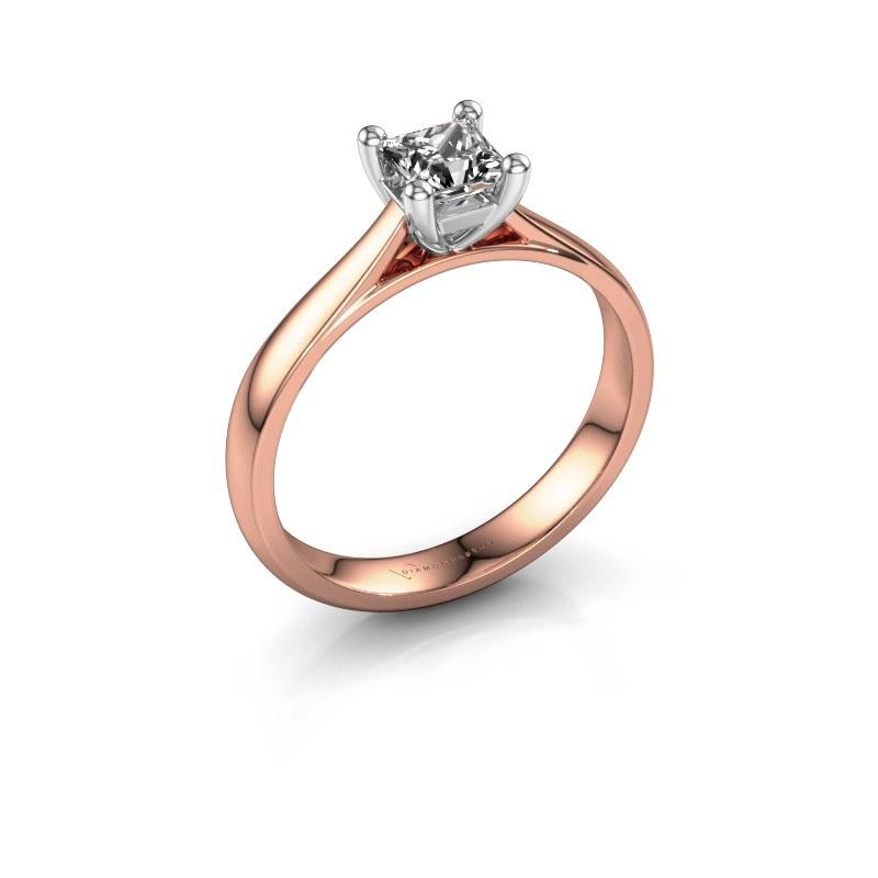 Bague de fiançailles Sam Square 585 or rose diamant 0.50 crt