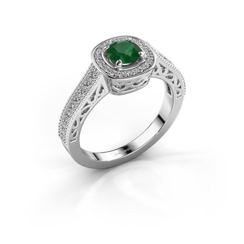 Verlovings ring Candi 585 witgoud smaragd 5 mm