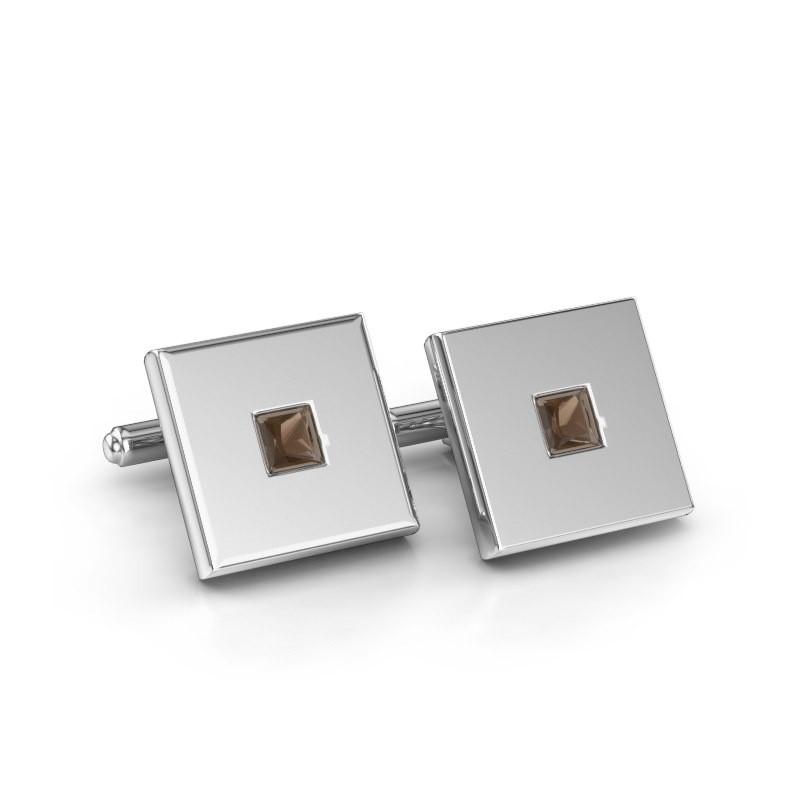 Cufflinks Givanti 585 white gold smokey quartz 4 mm