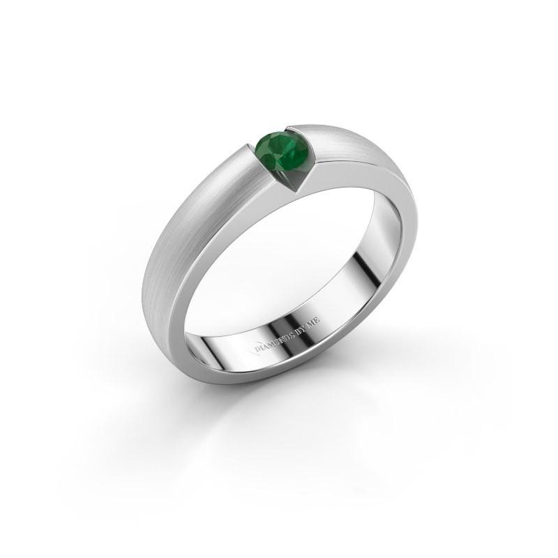 Verlovingsring Theresia 585 witgoud smaragd 3.4 mm