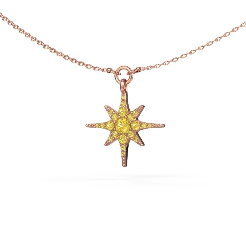 Collier Star 375 or rose saphir jaune 3 mm