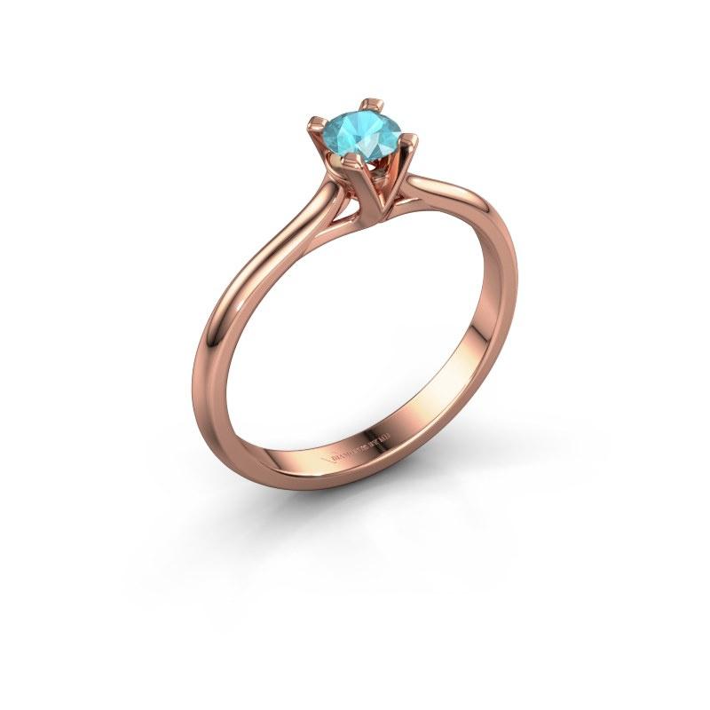 Verlovingsring Isa 1 585 rosé goud blauw topaas 4 mm