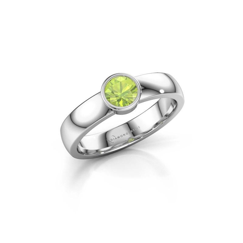 Ring Ise 1 585 witgoud peridoot 4.7 mm