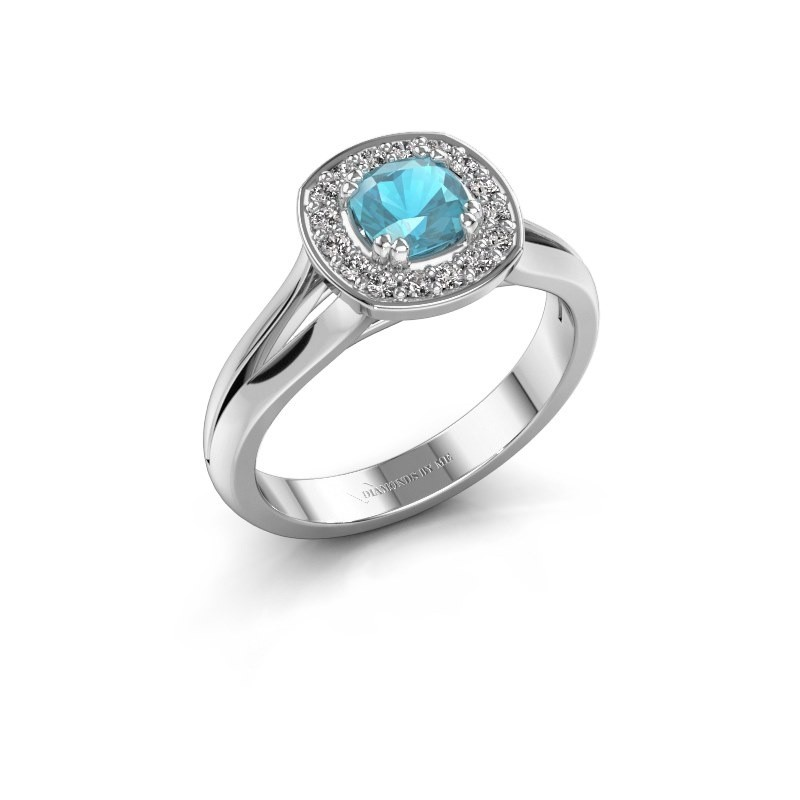 Ring Carolina 1 585 witgoud blauw topaas 5 mm