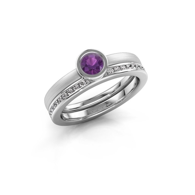Ring Cara 585 witgoud amethist 4 mm