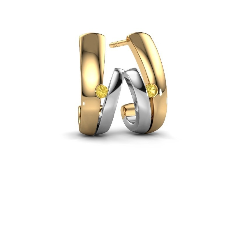 Oorbellen Shela 585 goud gele saffier 2 mm