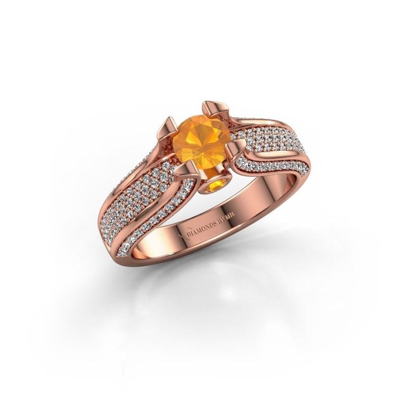 Verlovingsring Jeanne 2 375 rosé goud citrien 5 mm