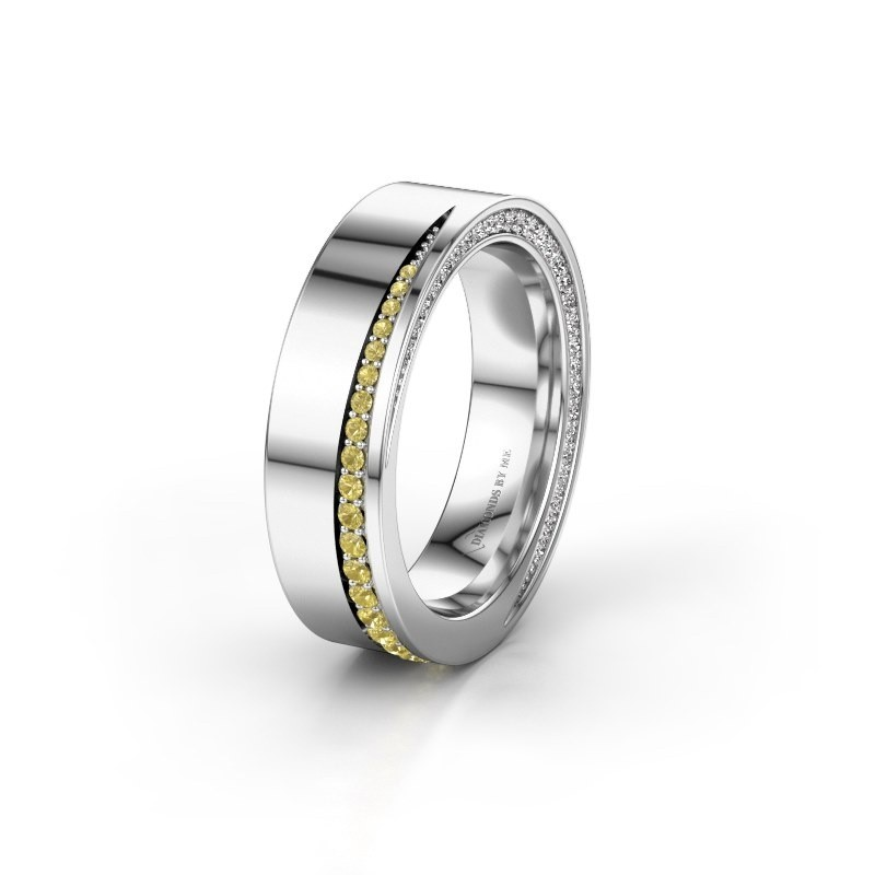 Wedding ring WH1002L15DP 585 white gold yellow sapphire ±6x2.3 mm