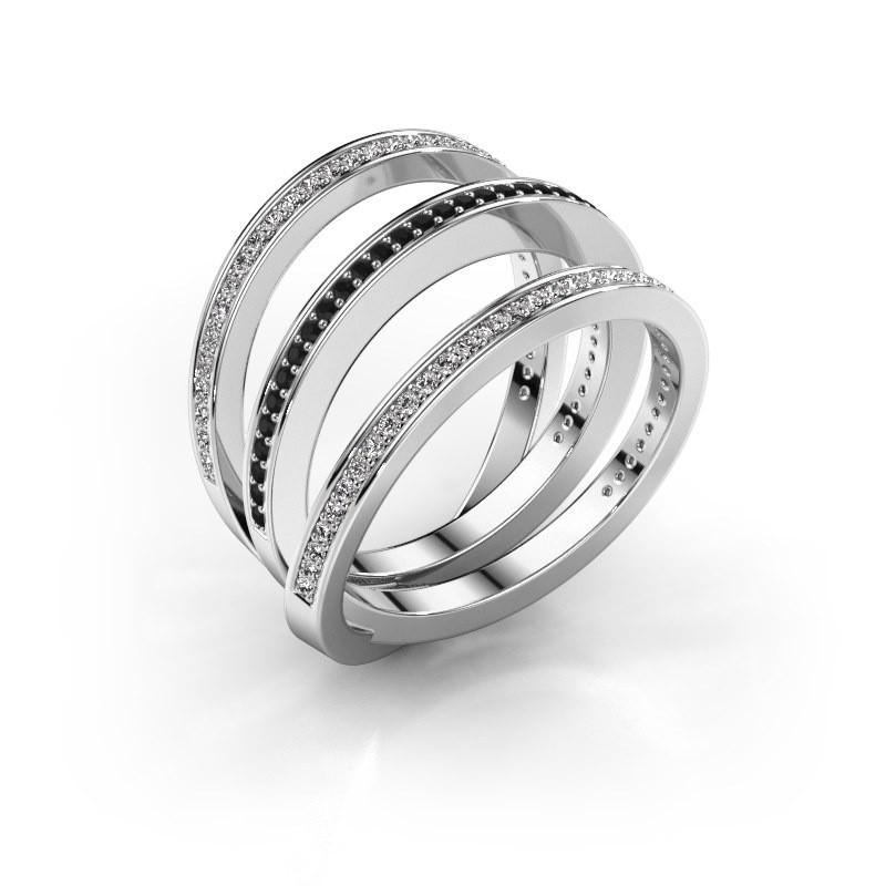Ring Jaqueline 950 platinum black diamond 0.588 crt