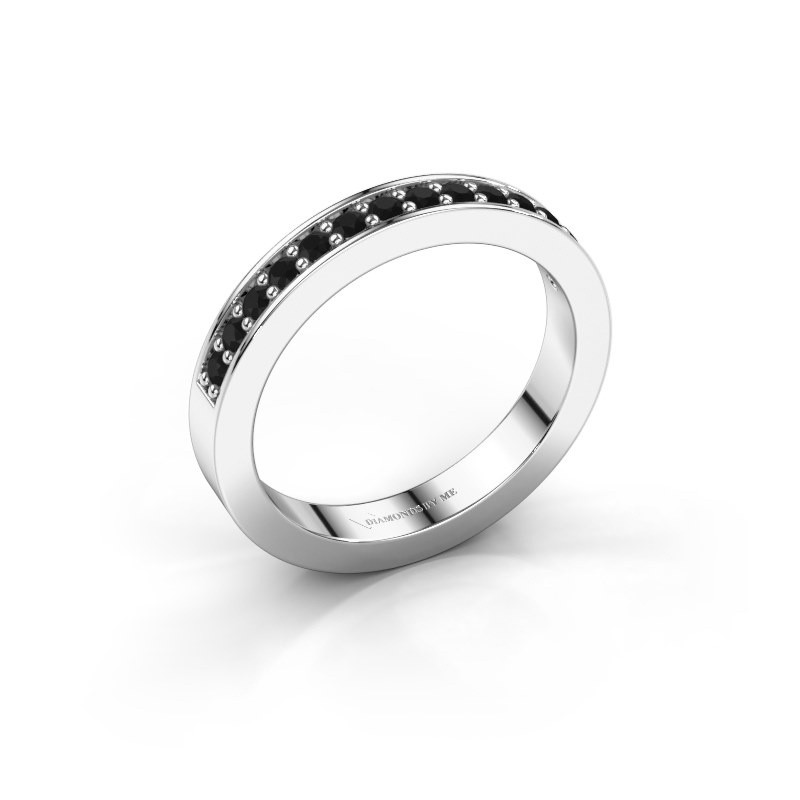 Stackable ring Loes 6 925 silver black diamond 0.336 crt