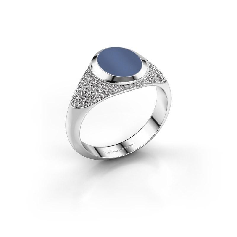 Pinkring Giovani 925 zilver blauw lagensteen 10x8 mm
