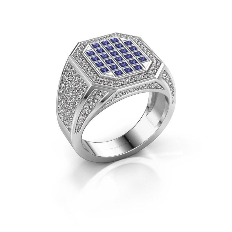 Heren ring Bjorn 925 zilver saffier 1.5 mm