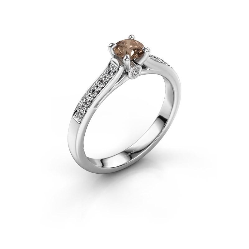 Bague de fiançailles Valorie 2 585 or blanc diamant brun 0.40 crt