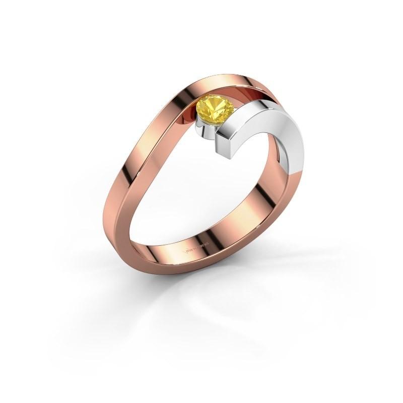 Ring Evalyn 1 585 rosé goud gele saffier 3.7 mm