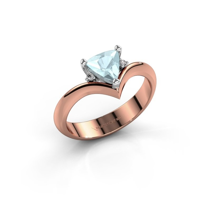 Ring Arlette 585 rosé goud aquamarijn 7 mm