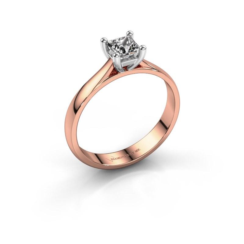 Bague de fiançailles Sam Square 585 or rose diamant synthétique 0.40 crt
