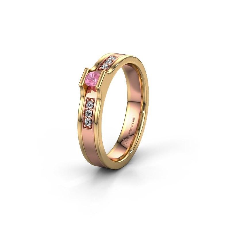 Trouwring WH2110L14A 585 rosé goud roze saffier ±4x1.7 mm