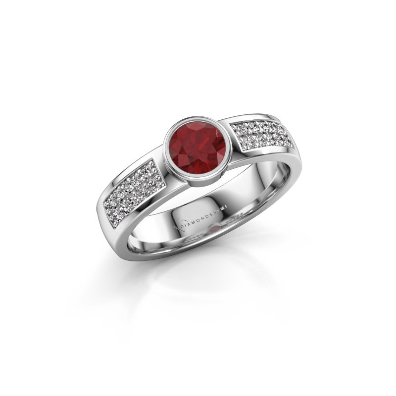 Engagement ring Ise 3 925 silver ruby 4.7 mm