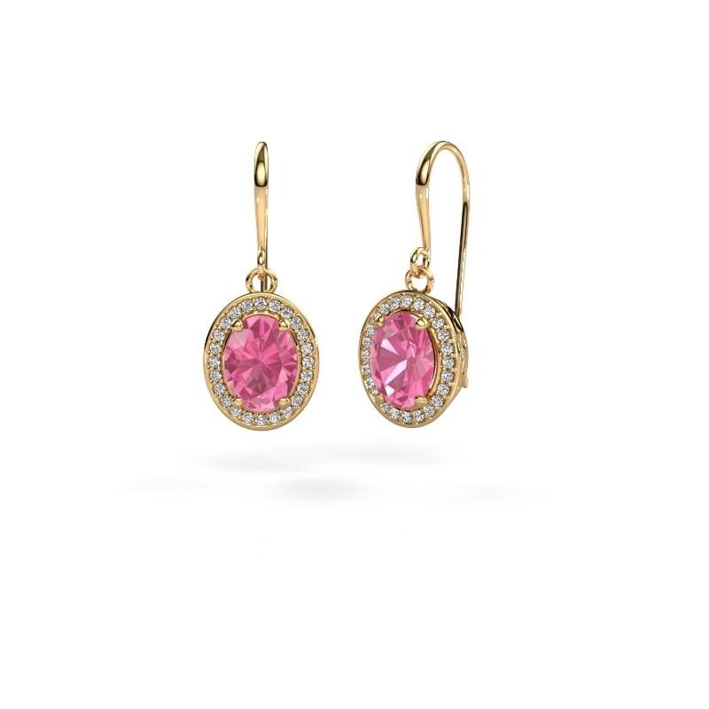 Oorhangers Latesha 585 goud roze saffier 8x6 mm