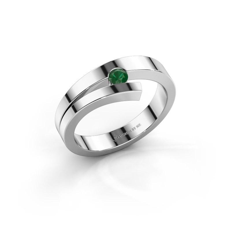 Ring Rosario 925 zilver smaragd 3 mm