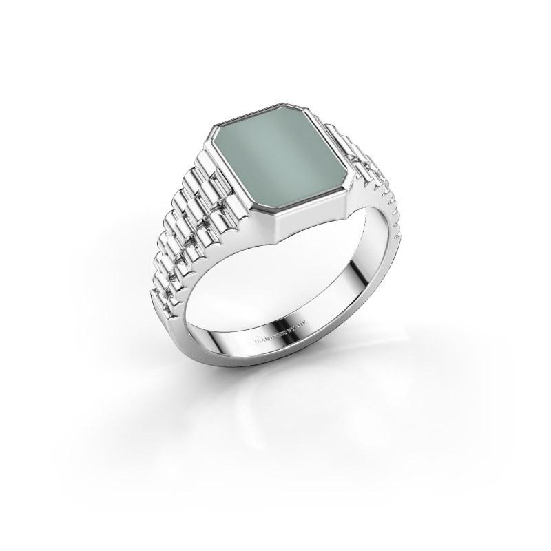 Rolex stijl ring Brent 1 585 witgoud groene lagensteen 10x8 mm