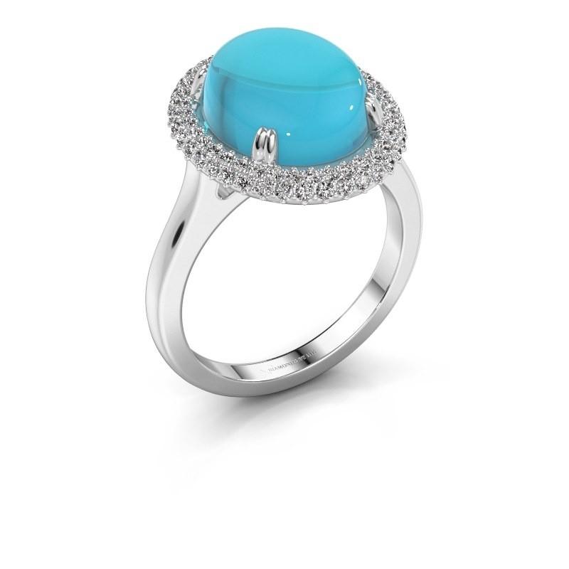 Ring Jayna 375 witgoud blauw topaas 12x10 mm