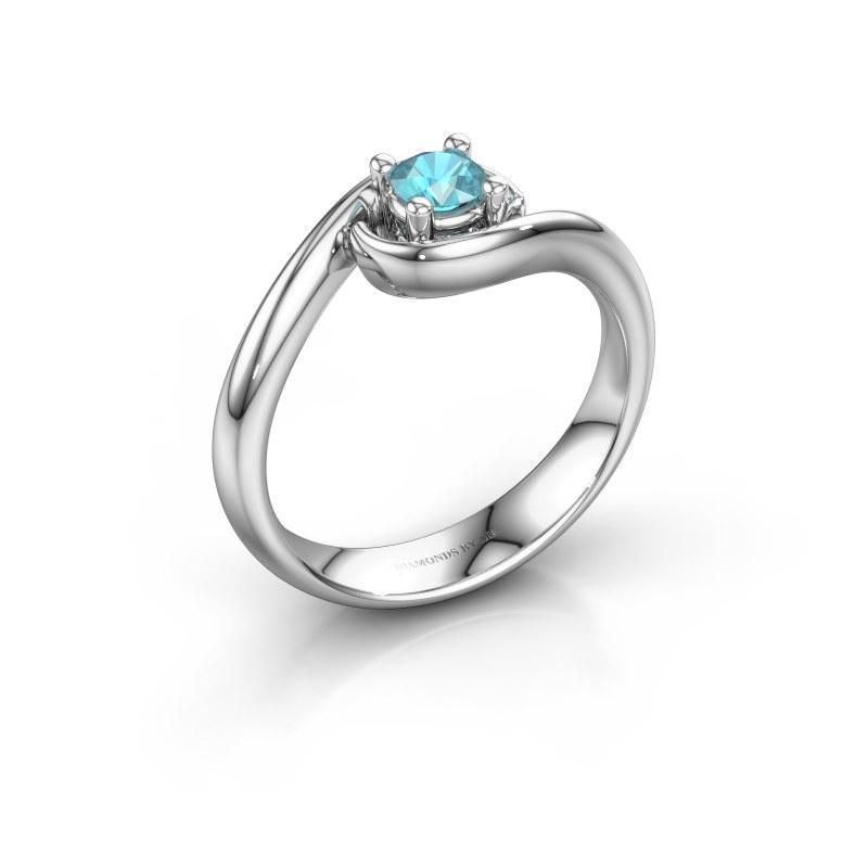Ring Linn 585 witgoud blauw topaas 4 mm