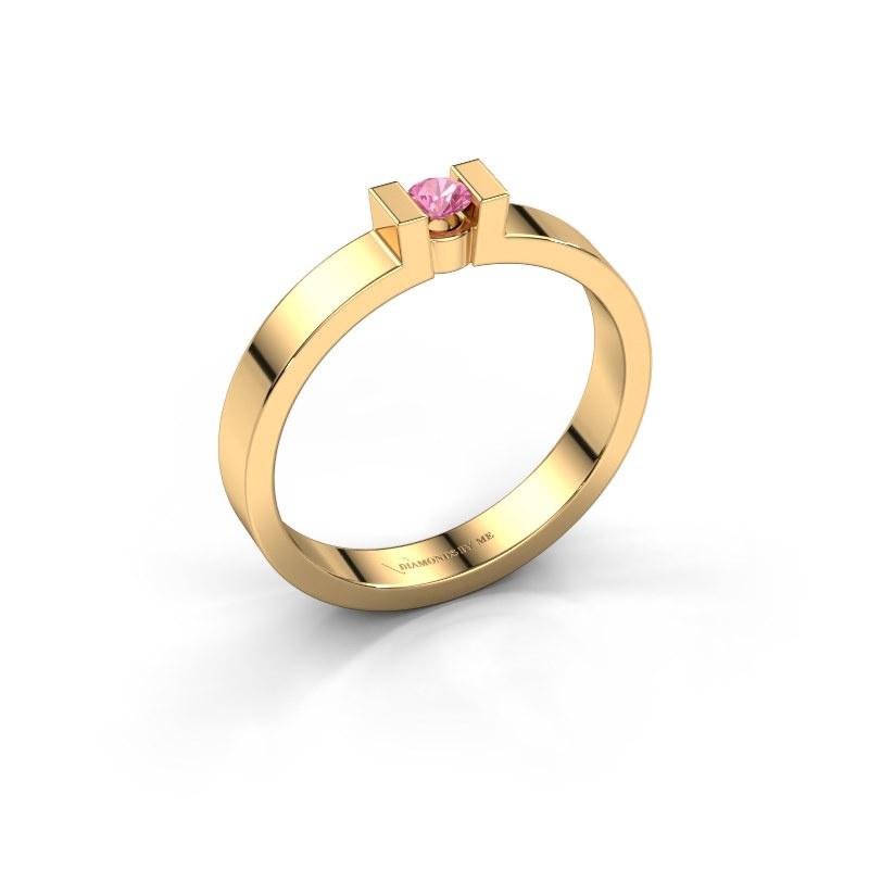 Verlovingsring Lieve 1 585 goud roze saffier 3 mm