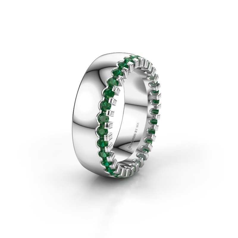 Wedding ring WH6120L27C 925 silver emerald ±0.28x0.09in