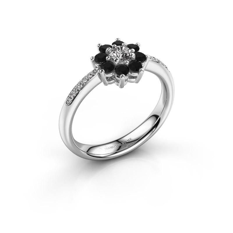 Verlovingsring Camille 2 925 zilver zwarte diamant 0.18 crt