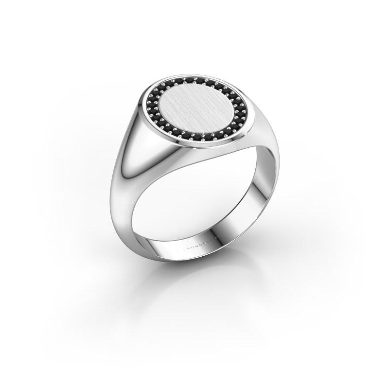 Men's ring Floris Oval 3 375 white gold black diamond 0.243 crt