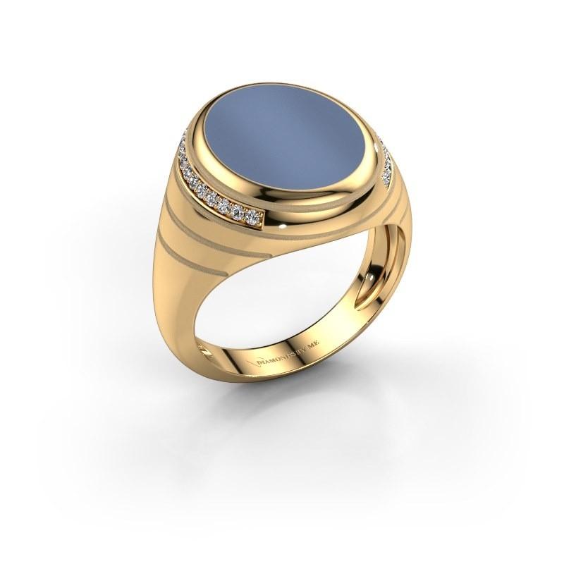 Zegelring Luuk 585 goud licht blauwe lagensteen 15x12 mm