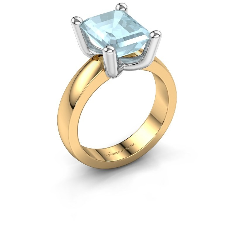 Ring Clelia EME 585 goud aquamarijn 10x8 mm