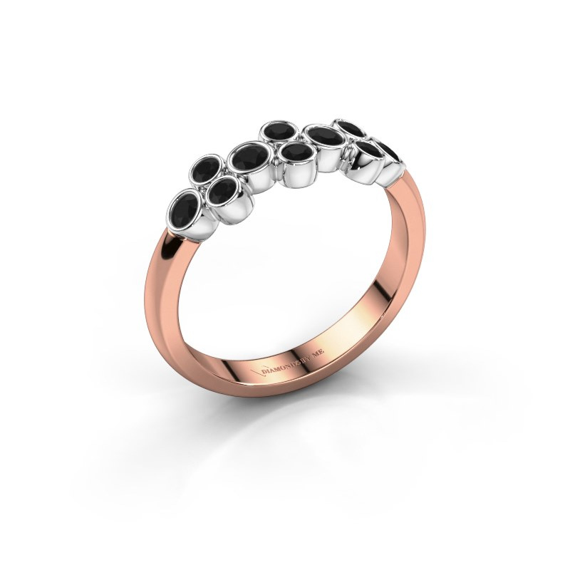 Bague Kayleigh 585 or rose diamant noir 0.48 crt